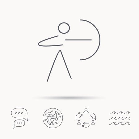 longbow: Archery sport icon. Archer with longbow sign. Aiming or targeting symbol. Global connect network, ocean wave and chat dialog icons. Teamwork symbol.