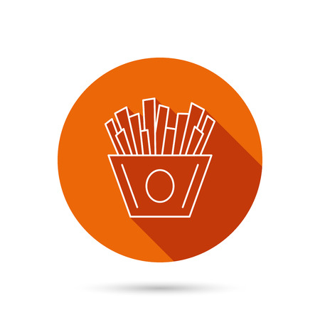 fried potatoes: Chips icon. Fries fast food sign. Fried potatoes symbol. Round orange web button with shadow.