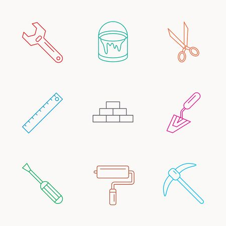 adjustable: Screwdriver, scissors and adjustable wrench icons. Spatula, mining tool and paint roller linear signs. Brickwork, ruler and painting icons. Linear colored icons.