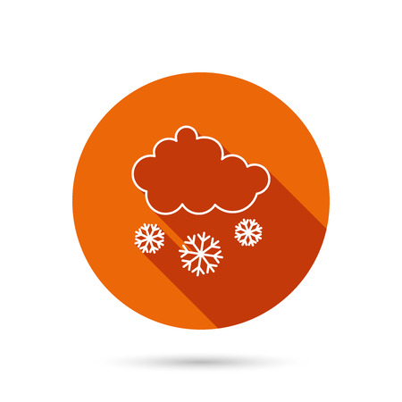 overcast: Snow icon. Snowflakes with cloud sign. Snowy overcast symbol. Round orange web button with shadow.