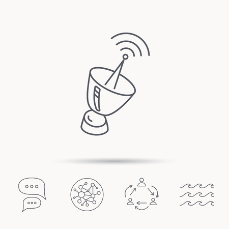 sputnik: Antenna icon. Sputnik satellite sign. Radio signal symbol. Global connect network, ocean wave and chat dialog icons. Teamwork symbol.