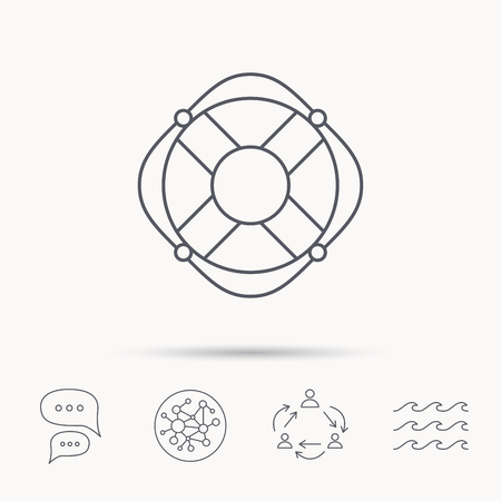 lifesaver: Lifebuoy with rope icon. Lifebelt sos sign. Lifesaver help equipment symbol. Global connect network, ocean wave and chat dialog icons. Teamwork symbol.
