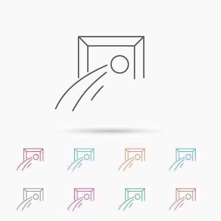 soccer goal: Football goalkeeper icon. Soccer sport sign. Team goal game symbol. Linear icons on white background.