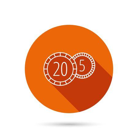 twenty: Coins icon. Cash money sign. Bank finance symbol. Twenty and five cents. Round orange web button with shadow. Illustration