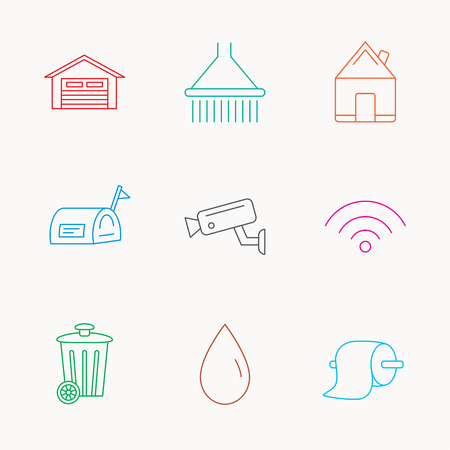 Wi-fi, video monitoring and real estate icons. Toilet paper, shower and water drop linear signs. Trash, garage flat line icons. Linear colored icons.