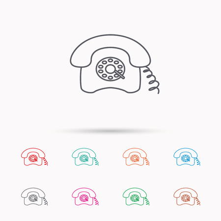 old phone: Retro phone icon. Old telephone sign. Linear icons on white background. Illustration