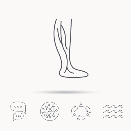 varicose veins: Phlebology icon. Leg veins sign. Varicose or thrombosis symbol. Global connect network, ocean wave and chat dialog icons. Teamwork symbol.