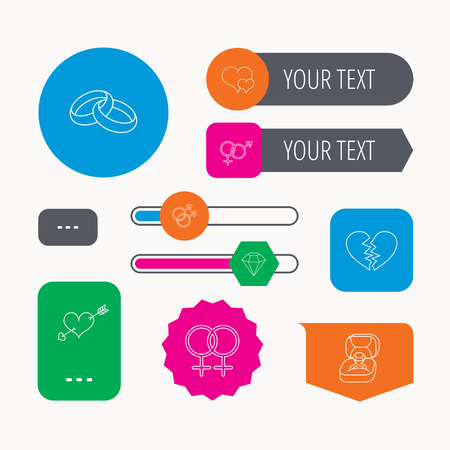 web engagement: Love heart, gift box and wedding ring icons. Broken heart and engagement brilliant linear signs. Valentine amour arrow, gay and lesbian flat line icons. Web buttons and app menu navigation.