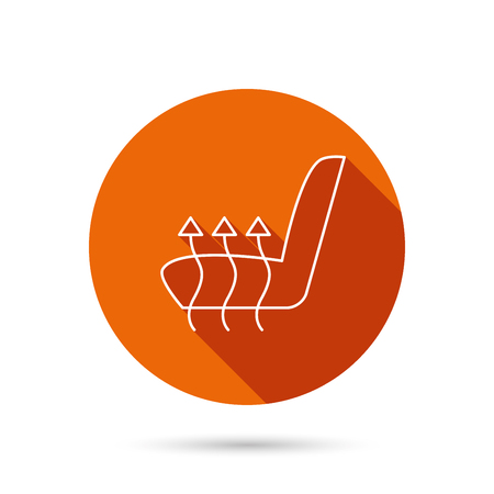 heated: Heated seat icon. Warm autoarmchair sign. Round orange web button with shadow.