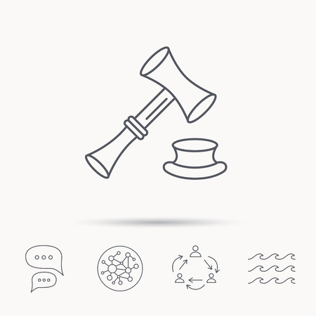 sentencing: Auction hammer icon. Justice and law sign. Global connect network, ocean wave and chat dialog icons. Teamwork symbol.