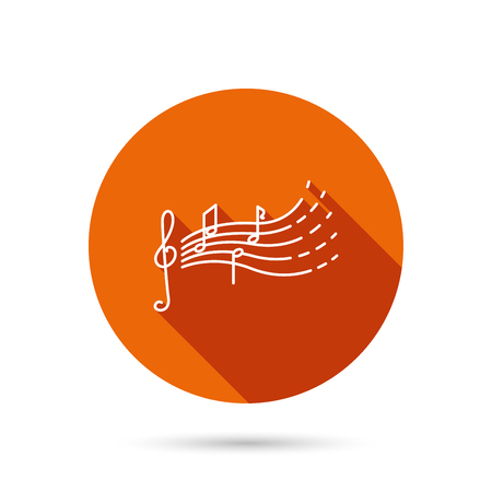 gclef: Songs for kids icon. Musical notes, melody sign. G-clef symbol. Round orange web button with shadow. Illustration