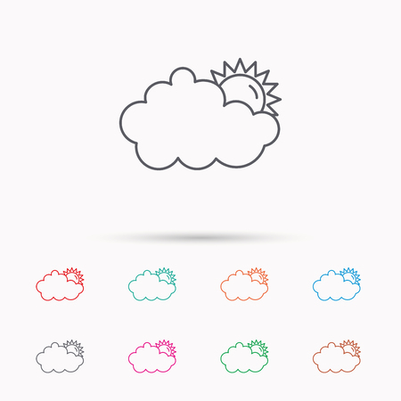 overcast: Sunny day icon. Summer sign. Overcast weather symbol. Linear icons on white background.