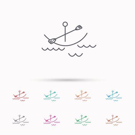 black white kayak: Kayaking on waves icon. Boating or rafting sign. Canoeing extreme sport symbol. Linear icons on white background.