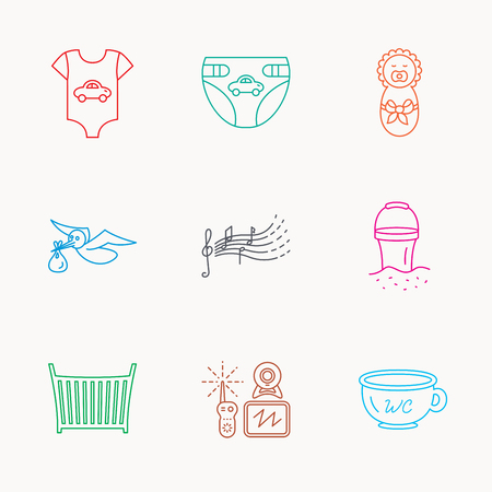 beach bucket: Diapers, newborn baby and clothes icons. Kids songs, beach bucket and bed linear signs. Video monitoring, wc flat line icons. Linear colored icons.