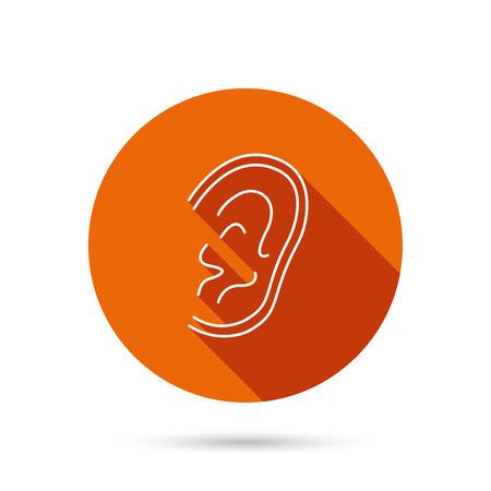 otorhinolaryngology: Ear icon. Hear or listen sign. Deaf human symbol. Round orange web button with shadow.