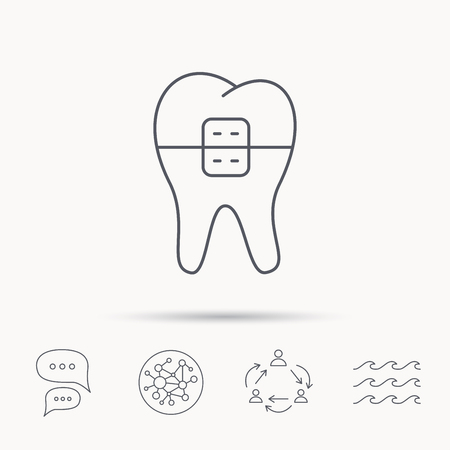 staples: Dental braces icon. Tooth healthcare sign. Orthodontic symbol. Global connect network, ocean wave and chat dialog icons. Teamwork symbol.