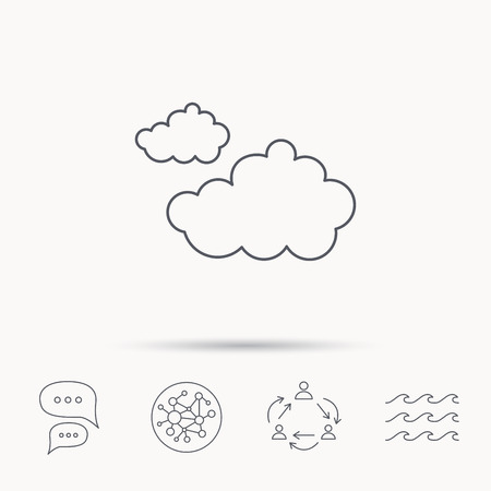 overcast: Cloudy icon. Overcast weather sign. Meteorology symbol. Global connect network, ocean wave and chat dialog icons. Teamwork symbol.