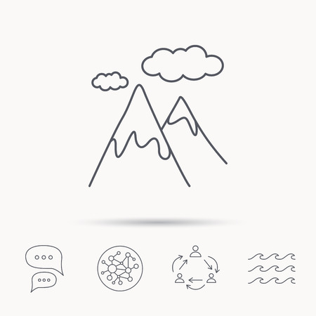extreme terrain: Mountain icon. Hills and clouds sign. Climbing travel symbol. Global connect network, ocean wave and chat dialog icons. Teamwork symbol. Illustration