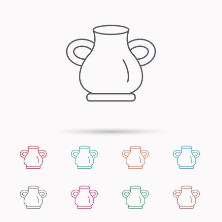 amphora: Vase icon. Decorative vintage amphora sign. Linear icons on white background. Illustration