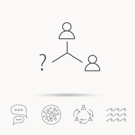 Vacancy or hire job icon. Teamwork sign. Question mark symbol. Global connect network, ocean wave and chat dialog icons. Teamwork symbol. Vektoros illusztráció