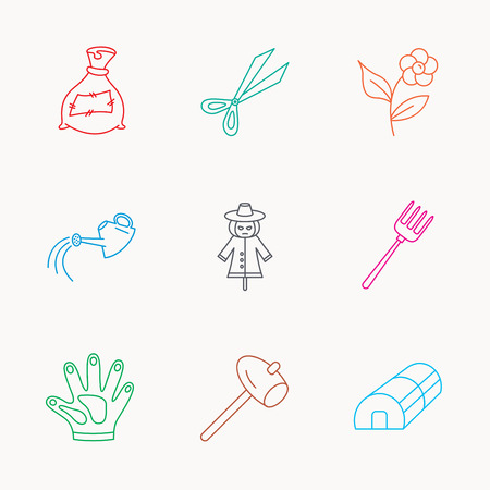 hothouse: Hammer, hothouse and watering can icons. Bag of fertilizer, scissors and flower linear signs. Hammer, scarecrow and pitchfork flat line icons. Linear colored icons.