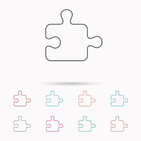 logical: Puzzle icon. Jigsaw logical game sign. Boardgame piece symbol. Linear icons on white background. Illustration