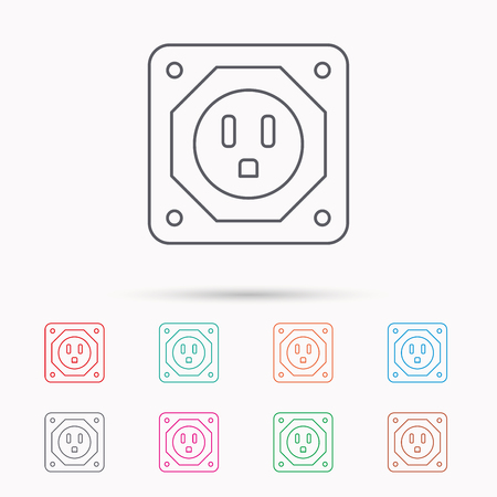adapter: USA socket icon. Electricity power adapter sign. Linear icons on white background.