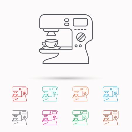 sign maker: Coffee maker icon. Hot drink machine sign. Linear icons on white background. Illustration