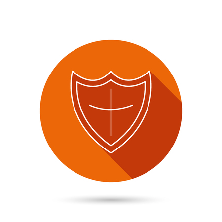 defence: Shield icon. Protection sign. Royal defence symbol. Round orange web button with shadow. Illustration