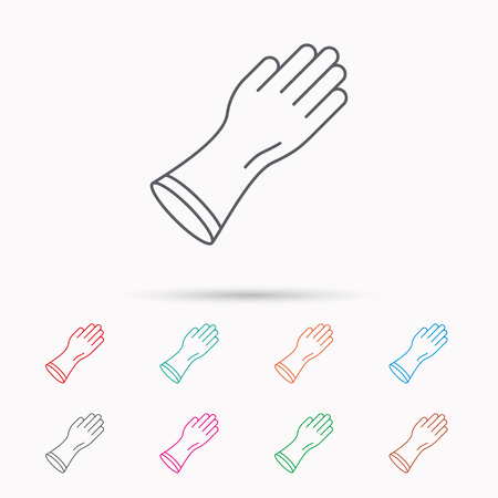 rubber gloves: Rubber gloves icon. Latex hand protection sign. Housework cleaning equipment symbol. Linear icons on white background. Illustration