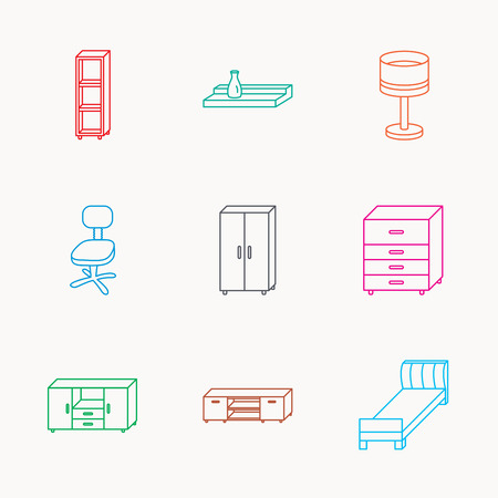 shelving: Single bed, TV table and shelving icons. Office chair, table lamp and cupboard linear signs. Wall shelf, chest of drawers icons. Linear colored icons.