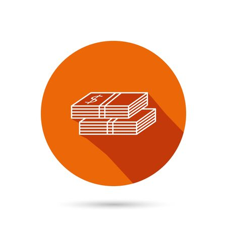 web 2: Cash icon. Dollar money sign. USD currency symbol. 2 wads of money. Round orange web button with shadow. Illustration