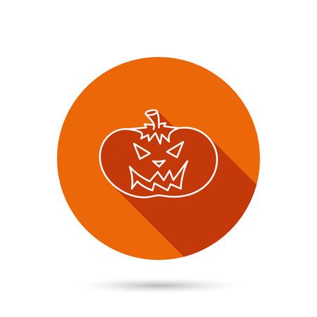 smilling: Halloween pumpkin icon. Scary smile sign. Round orange web button with shadow. Illustration