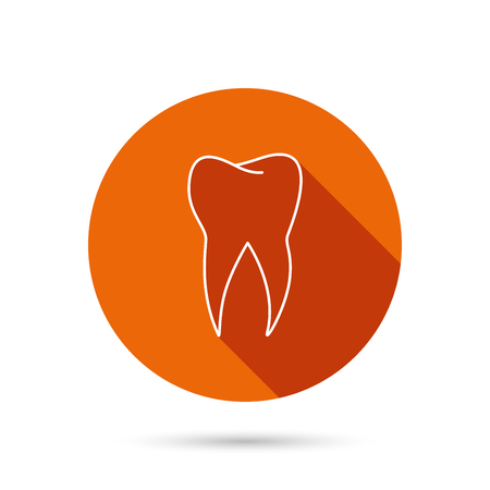 stomatology: Tooth icon. Dental stomatology sign. Dentistry symbol. Round orange web button with shadow. Illustration