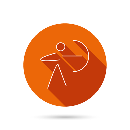 bowman: Archery sport icon. Archer with longbow sign. Aiming or targeting symbol. Round orange web button with shadow. Illustration