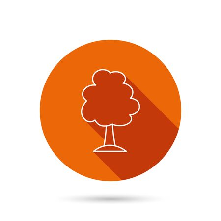 woody: Tree icon. Forest wood sign. Nature environment symbol. Round orange web button with shadow.