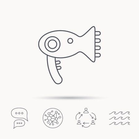 air diffuser: Hairdryer icon. Electronic blowdryer sign. Hairdresser equipment symbol. Global connect network, ocean wave and chat dialog icons. Teamwork symbol. Illustration