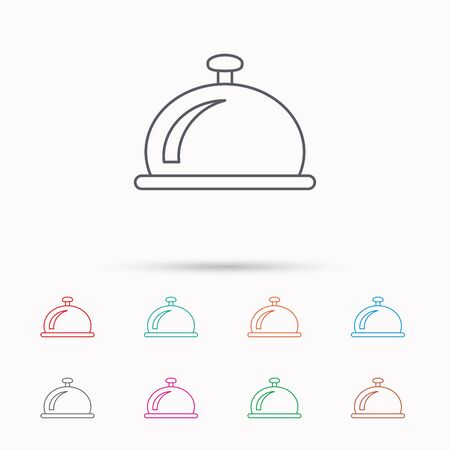 service bell: Reception bell icon. Hotel service sign. Linear icons on white background.