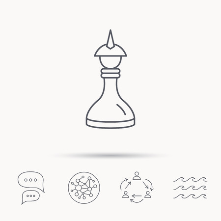 king master: Strategy icon. Chess queen or king sign. Mind game symbol. Global connect network, ocean wave and chat dialog icons. Teamwork symbol.