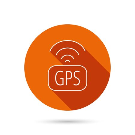 positioning: GPS navigation icon. Map positioning sign. Wireless signal symbol. Round orange web button with shadow.