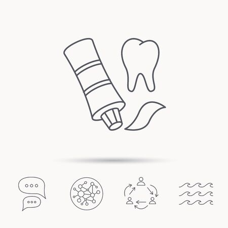 global health: Toothpaste icon. Teeth health care sign. Global connect network, ocean wave and chat dialog icons. Teamwork symbol.
