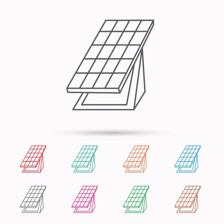 solar collector: Solar collector icon. Sunlight energy generation sign. Innovation battery power symbol. Linear icons on white background. Illustration