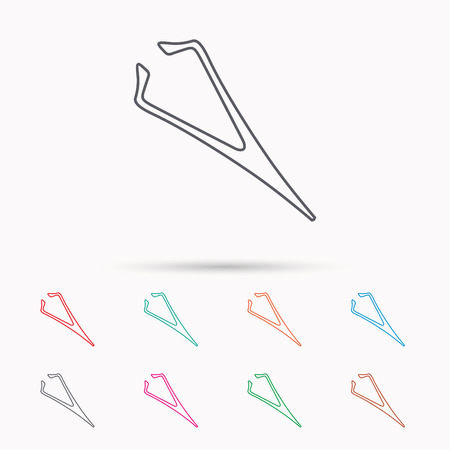 Eyebrow tweezers icon. Cosmetic equipment sign. Aesthetic beauty symbol. Linear icons on white background. Illustration