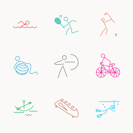 bobsleigh: Swimming, tennis and golf icons. Biking, diving and gymnastics linear signs. Archery, boating and bobsleigh icons. Linear colored icons.