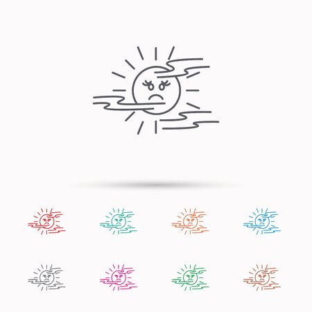 fog: Mist icon. Fog with sun sign. Sunny smile symbol. Linear icons on white background.