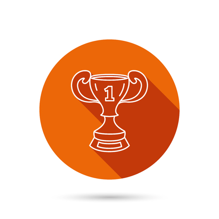 award ceremony: Winner cup icon. First place award sign. Victory achievement symbol. Round orange web button with shadow.