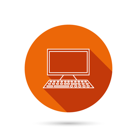 Computer PC icon. Widescreen display sign. Round orange web button with shadow. Illustration