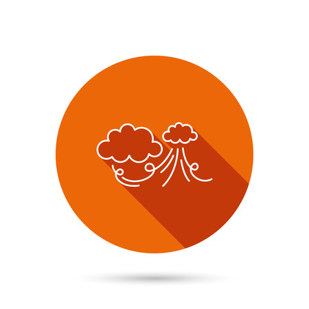 the tempest: Wind icon. Cloud with storm sign. Strong wind or tempest symbol. Round orange web button with shadow.