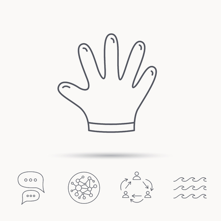 rubber gloves: Rubber gloves icon. Latex hand protection sign. Housework cleaning equipment symbol. Global connect network, ocean wave and chat dialog icons. Teamwork symbol.