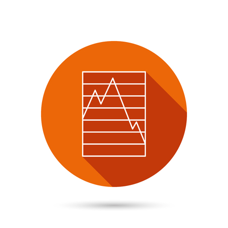 demand: Chart curve icon. Graph diagram sign. Demand reduction symbol. Round orange web button with shadow.